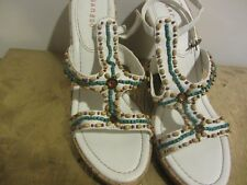 Bamboo White Wedges with Turquoise & Brown Beads Size 10