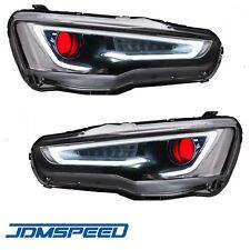 Set of LED Headlights Lamps For Mitsubishi Lancer & EVO X 2008-2017 Red Eye DRL