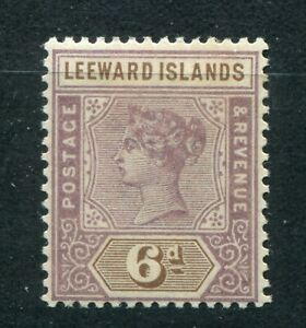 QV LEEWARD ISLANDS 1890 ISSUE 6d SG 5 PERFECT MH