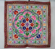 Embroidered Aari & Mirrored Traditional Floral Indian Wall Hanging Burgundy Edge