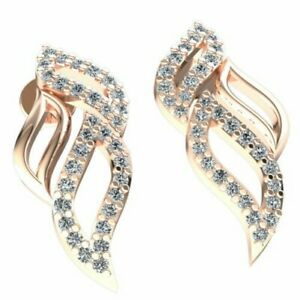 Natural 0.25ct Round Cut Diamond Ladies Fire Pave Earrings Solid 18K Gold