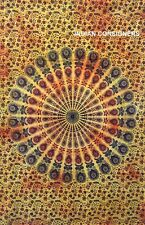 Peacock Mandala Poster Tapestry Hippie Wall Hanging Table Cloth Yellow Cotton