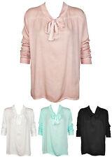 Damenbluse Schleifenbluse Damen Chiffon Bluse Shirt Tunika Schleife Italy 38 40