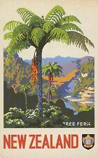 Vintage Travel Poster Tree Fern New Zealand