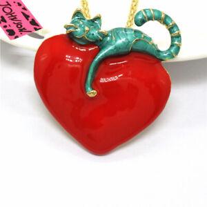 Hot Betsey Johnson Red Enamel Cute Blue Cat Heart Crystal Pendant Necklace