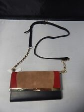 White House Black Market Red/Brown/Black Purse/Clutch; New w/ Tag; Suede