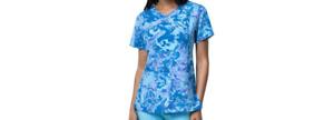 Carhartt Sz Lg Cross-Flex Women's Y-neck Fashion Scrub Top 12214A - Blue Purple
