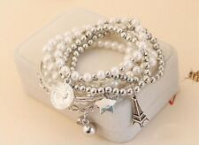 Silver Multilayer Pendant Pearl Beaded Metal Charm Bangle Chain Jewelry Bracelet