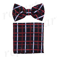 Men's microfiber Pre-tied Bow Tie & hankie set black red checkers formal