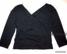 CAROLYN VAILE Womens PLUS 2X 18 20 Black Double V-Neck Wrap Top Shirt Blouse USA