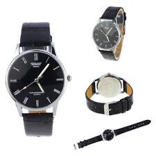 Black Men Women Business Roman Number Quartz Leather Band Round Wrist Watches