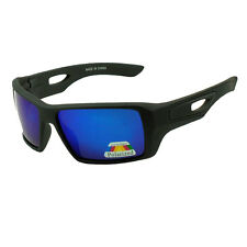 New Sport Mens Large Square Polarized Sunglasses - Matte Black /Blue Lens