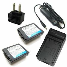 Charger + 2x Battery for Panasonic Lumix DMC-FZ30 DMC-FZ35 DMC-FZ38 DMC-FZ50