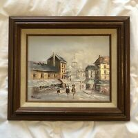 Vintage Small Oil Painting City Scape Original Framed Signed Paterson 14.5x12.5