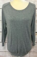 Joie Gray Long Sleeve Pullover Sweater Cashmere/Wool Blend Elbow Patches Medium