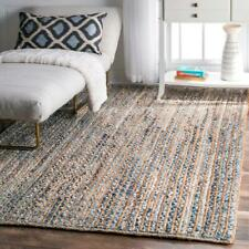 Rug Jute & Denim Rectangle Handmade Rustic look Runner Braided style Reversible