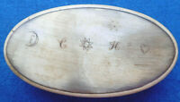 ANTIQUE EARLY19c COW  HORN OVAL SNUFF BOX ,TACTILE ,ENGRAVED SYMBOLS