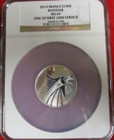 2014 France Silver 100 Euro Rooster Coin NGC MS 69 French Bullion first 1000 hot