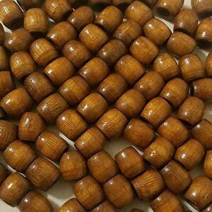 "Lot of 50 Vintage Small Tan Macrame 16mm 5/8"" Barrel Wood Art Craft Beads"