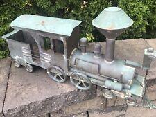 Antique Copper Weathervane Locomotive Railroad Train With Coal Tender Rare