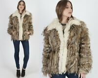 Vtg 70s Tanuki Fur Coat Natural Raccoon Shaggy Mongolian Lamb Stroller Jacket