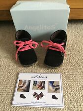 Afelpado Marino Willabeans Kids Shoes Boot Suede Navy With Pink Laces