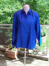 Vintage C&A Bluse Sommerbluse  Gr.48 blau Satin neu B123/21
