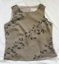 Norton Mcnaughton Sleeveless Top Green Leaves Medium