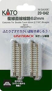 "Kato 20-042 N Unitrack 62mm 2 7/16"" Double Straight Track 2pcs"