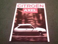 1987 Model CITROEN AXEL 11R 12TRS - FRENCH MARKET 4 page COLOUR FOLDER BROCHURE