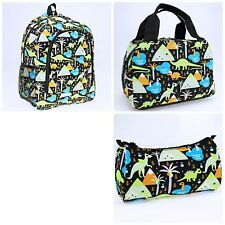Boy's Backpack Lunch Bag Pencil Case 3 Piece Set Dinosaur Theme Black Green Nwt
