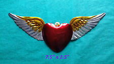 "Heart & Wings Mexican Handmade Painted Tin Milagro 7.5""x2.5"" Corazon con Alas"
