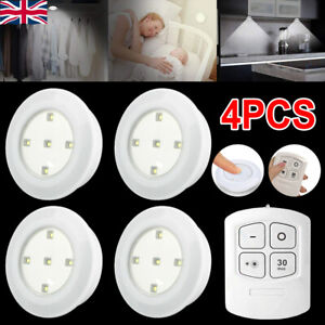 4X Kitchen LED Cabinet Lights Under Cupboard Night Lamp Dimmable Remote Control