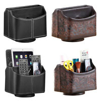 TV Remote Control Storage Holder Desktop Makeup Brush Leather Organizer Case Box