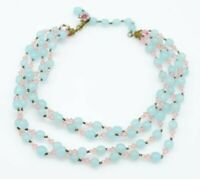 Miriam Haskell Four Strand Light Blue Pink Glass Bead Choker Necklace Vintage