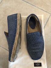 Chaussures plates UGG Mocassins Cuir Tressé Bleu femme T. 39