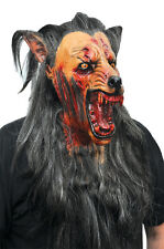 Halloween Costume BROWN WOLF WITH HAIR Horror High-Quality Latex Deluxe Mask