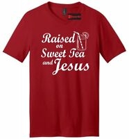 Raised On Sweet Tea Jesus Mens V-Neck T Shirt Southern Country Graphic Tee