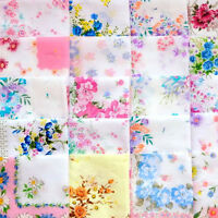 Lot 35Pcs Vintage Ladies Child Cotton Flower Handkerchiefs Quadrate!