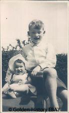 VINTAGE BLACK WHITE PHOTOGRAPH PHOTO OF BOY & LITTLE SISTER 1950S SOCIAL