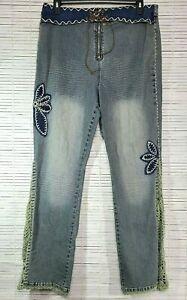 Crest Womens Stretch Jeans Denim Blue Plus Size 21/22 Boho Crochet High Rise