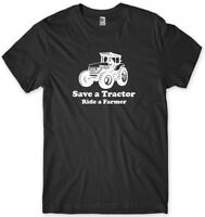 Save A Tractor Ride A Farmer Funny Mens Unisex T-Shirt