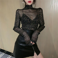 Women Glitter Tops Long Sleeve Sheer Mesh Shirt See-through Hollow Out Clothing