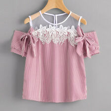 Fashion Women Short Sleeve Off Shoulder Lace Striped Blouse Casual Tops T-Shirt