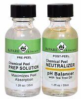 Skin Peel Kit Prep Solution & Neutralizer - Salicylic, Lactic, Glycolic, T C A