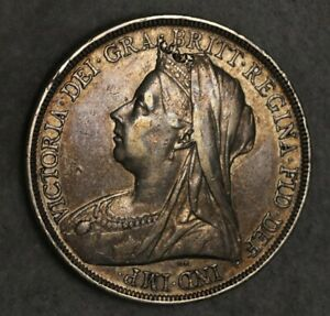 1896 Crown Sterling Silver Coin Queen Victoria High grade coin Mint Lustre