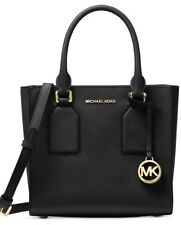 New MICHAEL KORS SELBY Black LEATHER Medium messenger bag tote gold medallion