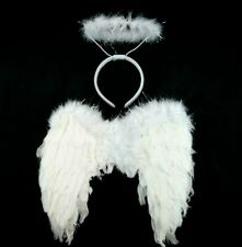 White Feather Angel Costume Wings & Halo Set Halloween Costume Angel 2PC/SET