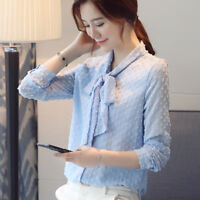 New Spring Korean Women Loose Large Chiffon Shirt Bow Tie Long Sleeve Blouse Top