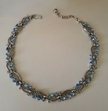 Vintage Signed Trifari Ice Blue and Clear Rhinestone Choker Necklace